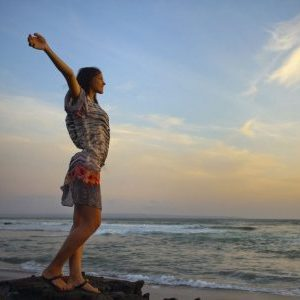 women's retreats beautiful girl relaxes on background of ocean bali